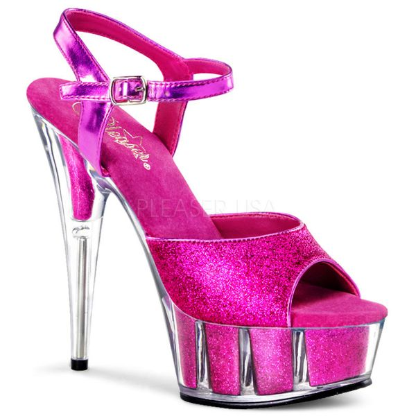 Multi Glitter Plateau Sandalette hot pink mit Riemchen DELIGHT-609-5G